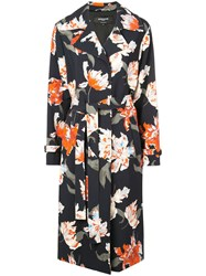 Rochas Floral Print Trenchcoat Blue