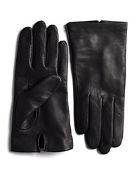 Lord And Taylor Silk Lined Leather Gloves Black