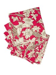 La Doublej Set Of Six Floral Print Linen Napkins Red White