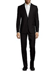 Versace Pebbled Wool Suit Black Fantasy
