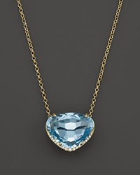 Vianna Brasil 18K Yellow Gold Necklace With Blue Topaz And Diamond Accents 16.5