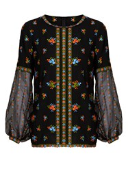 Andrew Gn Floral Embroidered Silk Crepe Blouse Black Multi