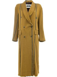 Uma Wang Striped Double Breasted Coat Brown