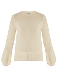 Mih Jeans Leeson Contrast Knit Cotton Sweater Cream