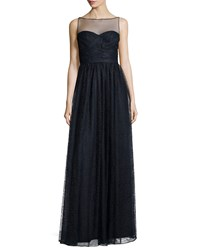 Monique Lhuillier Sleeveless Sweetheart Illusion Gown Blue