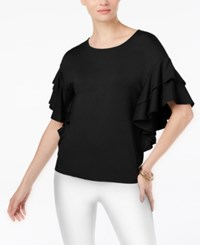 Cable And Gauge Ruffle Sleeve Top Black