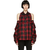 Alexander Wang Red And Black Check Button Off Shirt