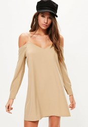 Missguided Camel Cold Shoulder Cami Swing Dress