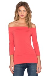Susana Monaco Banded Off The Shoulder Top Red