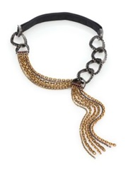 Lanvin Crystal Chain And Leather Draped Tassel Necklace Gold Gunmetal