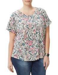 Junarose Misty Floral Relaxed Blouse White