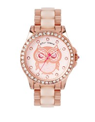 Betsey Johnson Ladies Owl Motif Glitz Rose Goldtone Bracelet Watch