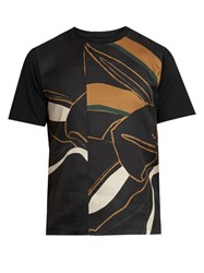 Wooyoungmi Contrast Panel Silk And Wool Blend T Shirt Black Multi