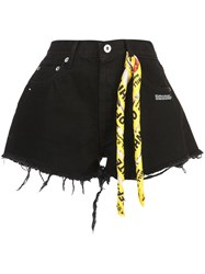 Off White Twisted Scarf Detailed Denim Shorts Black