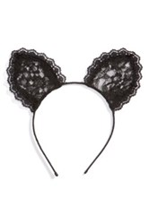 Cara Accessories Lace Cat Ears Headband Black