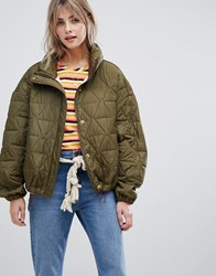 Maison Scotch Loose Quilted Jacket With Adjustable Bottom Olive Green