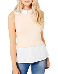Miss Selfridge Knitted 2 In 1 Sleeveless Top Peach