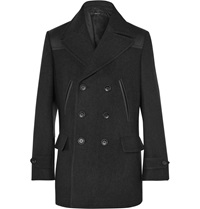 Dunhill Leather Panelled Wool Peacoat Black
