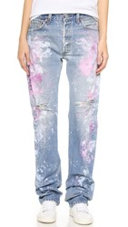Rialto Jean Project Basic Distressed Boyfriend Jeans Pink White Distressed