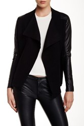Ted Baker Hazie Genuine Leather Sleeve Wool Jacket Black