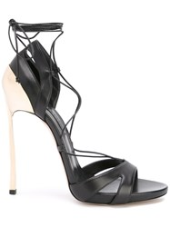 Casadei Metallic Heel Lace Up Sandals Women Leather Nappa Leather 35 Black