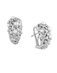 Effy Pearl Lace Dome Earrings 2.4Mm 4Mm Sterling Silver