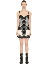 Fausto Puglisi Wool Crepe And Lace Mini Dress White
