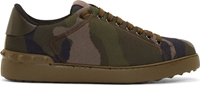 Valentino Green Canvas Camouflage Sneakers