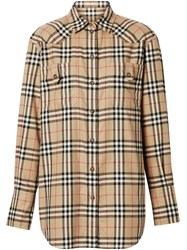 Burberry Vintage Check Flannel Oversized Shirt Neutrals
