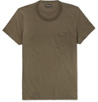 Tom Ford Slim Fit Cotton Jersey T Shirt Army Green