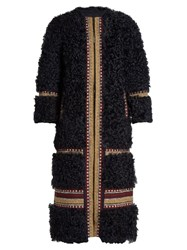 Red Valentino Embroidered Shearling Coat Navy Multi