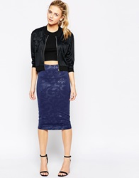True Decadence Pencil Skirt In 3D Floral Navy3d
