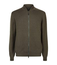 Harrods Cashmere Bomber Cardigan Green