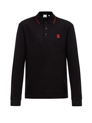 Burberry Aden Tb Embroidered Long Sleeved Cotton Polo Shirt Black