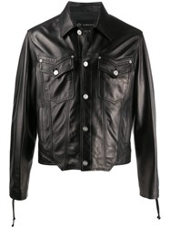 Versace Lace Up Sleeves Leather Jacket Black