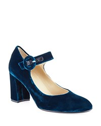 Hobbs London Aurora Velvet Mary Jane Block Heel Pumps Teal