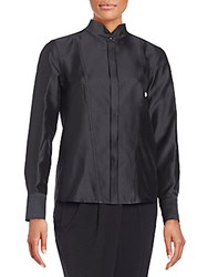 Donna Karan Silk Blend Stand Collar Jacket Black