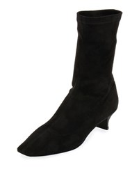Stella Mccartney Faux Stretch Suede Bootie Black