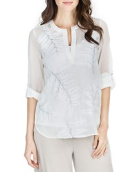 Joan Vass Printed Splitneck Blouse Satin White