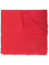 Rick Owens Frayed Edges Scarf Red