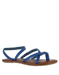 Mia Braided Leather Strappy Flat Sandals Blue