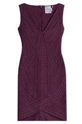 Herve Leger Herve Leger V Neck Bandage Dress Red