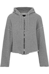 Rta Woman Distressed French Cotton Blend Terry Hooded Sweatshirt Gray