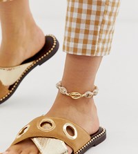 Designb London Enamel Cowrie Shell Anklet Gold
