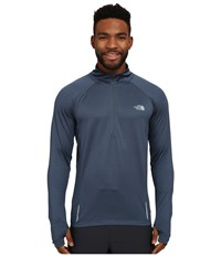 The North Face Isolite 1 2 Zip Pullover Conquer Blue Heather Men's Long Sleeve Pullover Gray