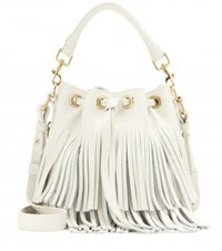 Saint Laurent Small Bucket Fringed Leather Tote White