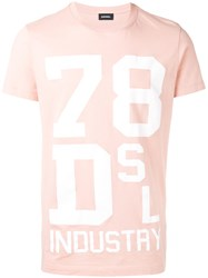 Diesel Printed T Shirt Pink Purple