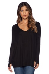 Michael Lauren Hyde Long Sleeve Draped Tee Black