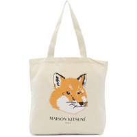 Maison Kitsune Off White Fox Head Tote