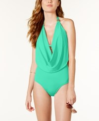 Bar Iii Draped Monokini One Piece Swimsuit Only At Macy's Women's Swimsuit Aqua